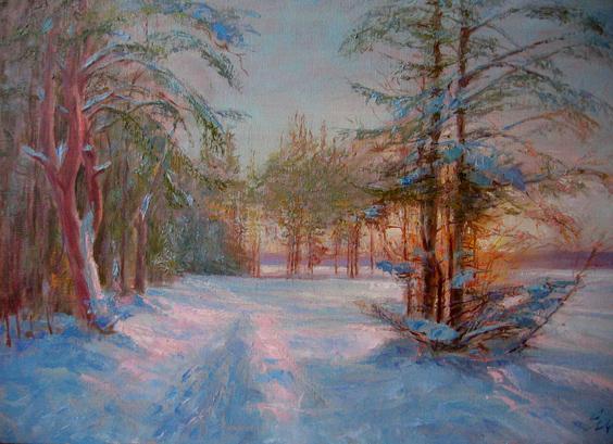 Живописный пейзаж зима