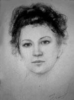Женский портрет углем на вечеринке